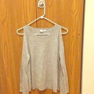 Cold shoulder gap sweater